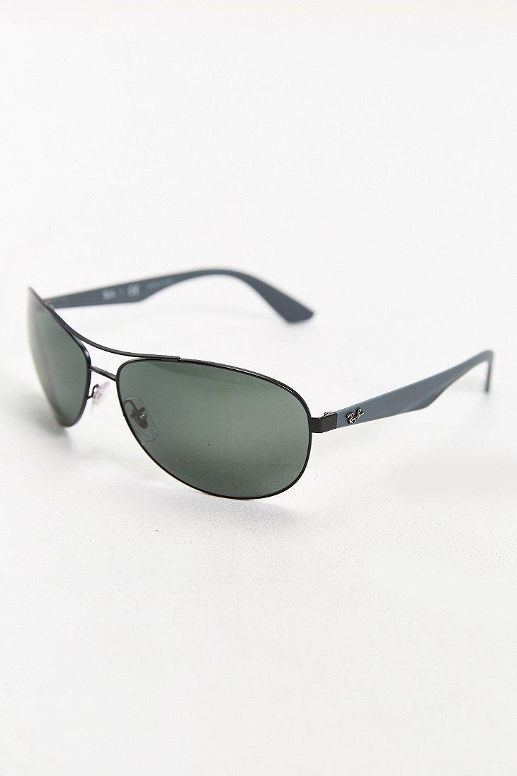Ray Ban Metal Aviator Sunglasses In Black For Men Lyst