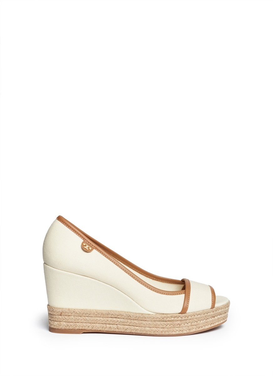 9db85d6c64cd Lyst - Tory Burch  Majorca  Canvas Espadrille Wedge Sandals in White