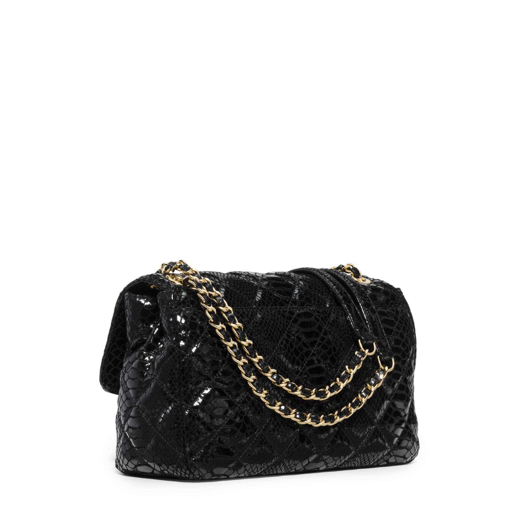 7aa8e39578f07 Lyst - Michael Kors Sloan Large Embossed Patent-leather Crossbody in Black