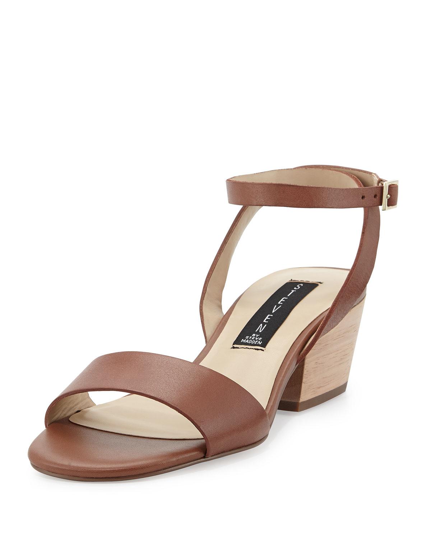 Steven by steve madden Carinne Leather Chunky Heel Sandal in Brown ...