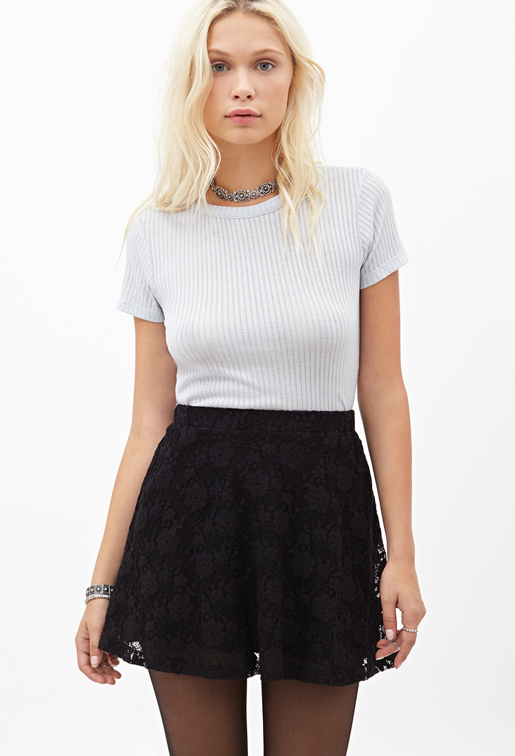 Forever 21 Floral Lace Skater Skirt in Black - Lyst ff72c0630
