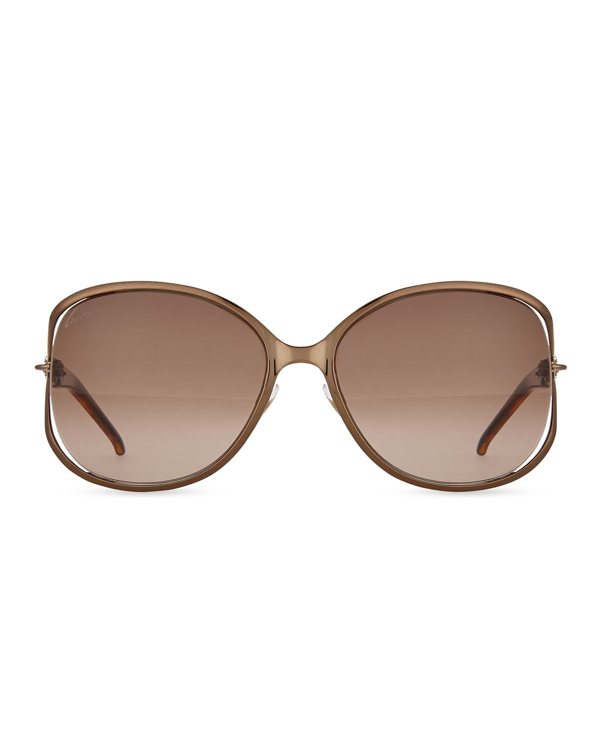 b6cc66b769 Lyst - Gucci Large Butterfly Sunglasses With Logo Arm in Metallic ...