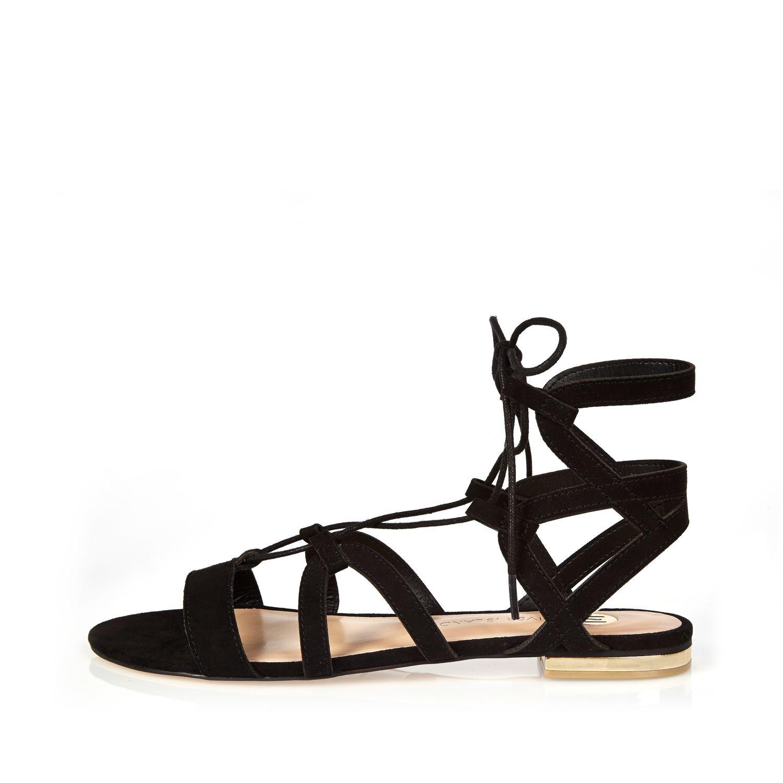 47a2bc2b7771 River Island Black Strappy Gladiator Sandals in Black - Lyst