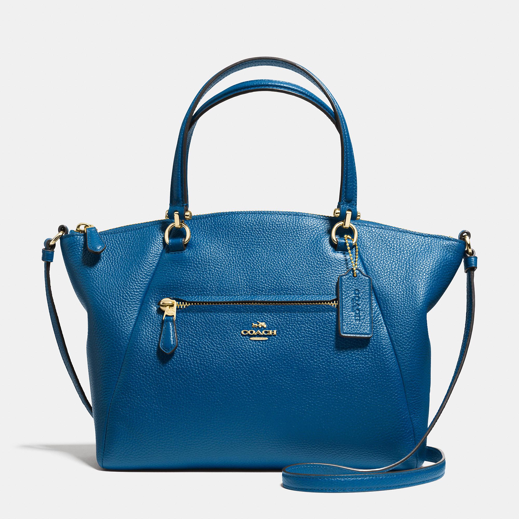 Lyst Coach Prairie Satchel In Pebble Leather In Blue