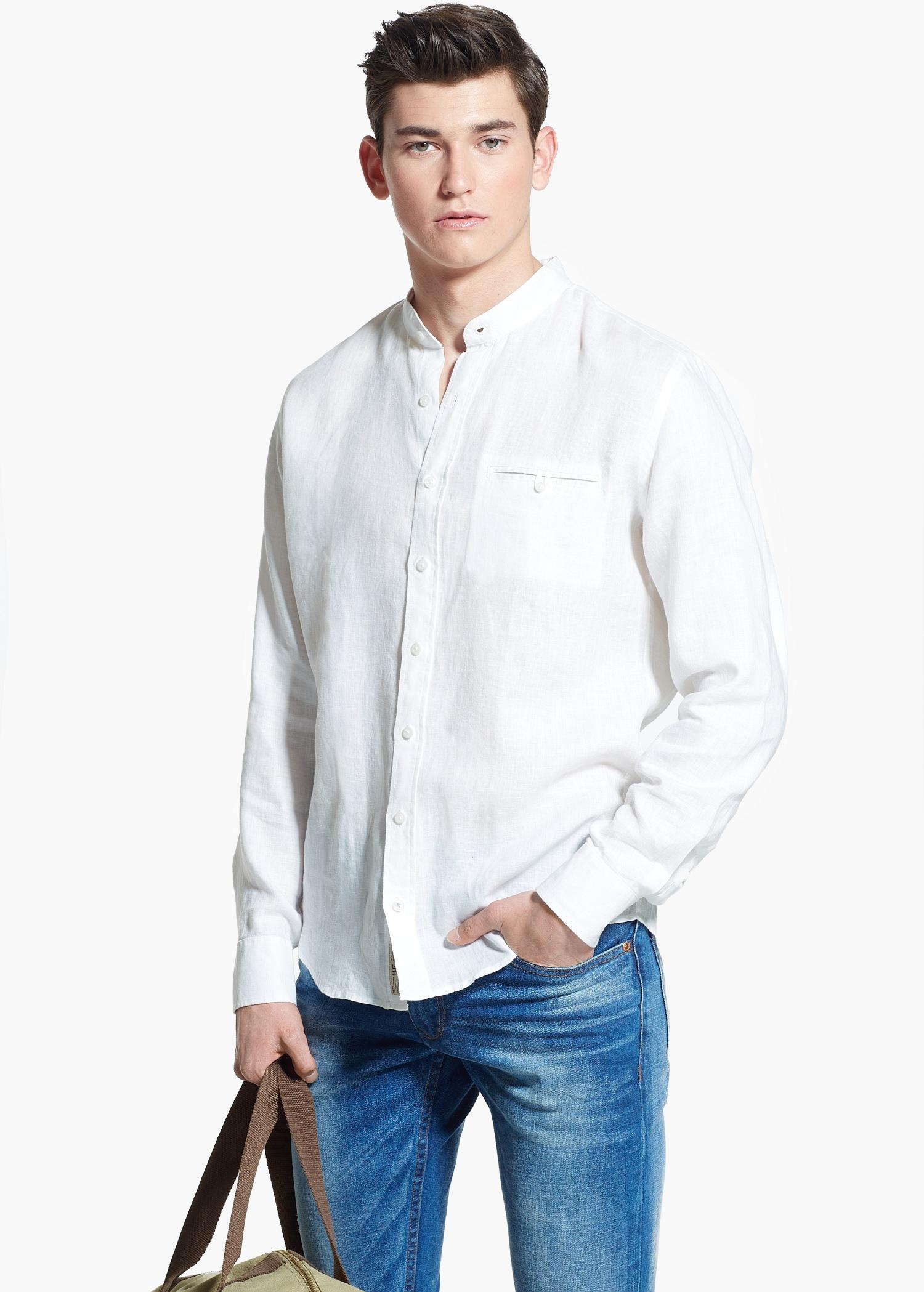 Mango Slim-Fit Mao Collar Linen Shirt in White for Men | Lyst