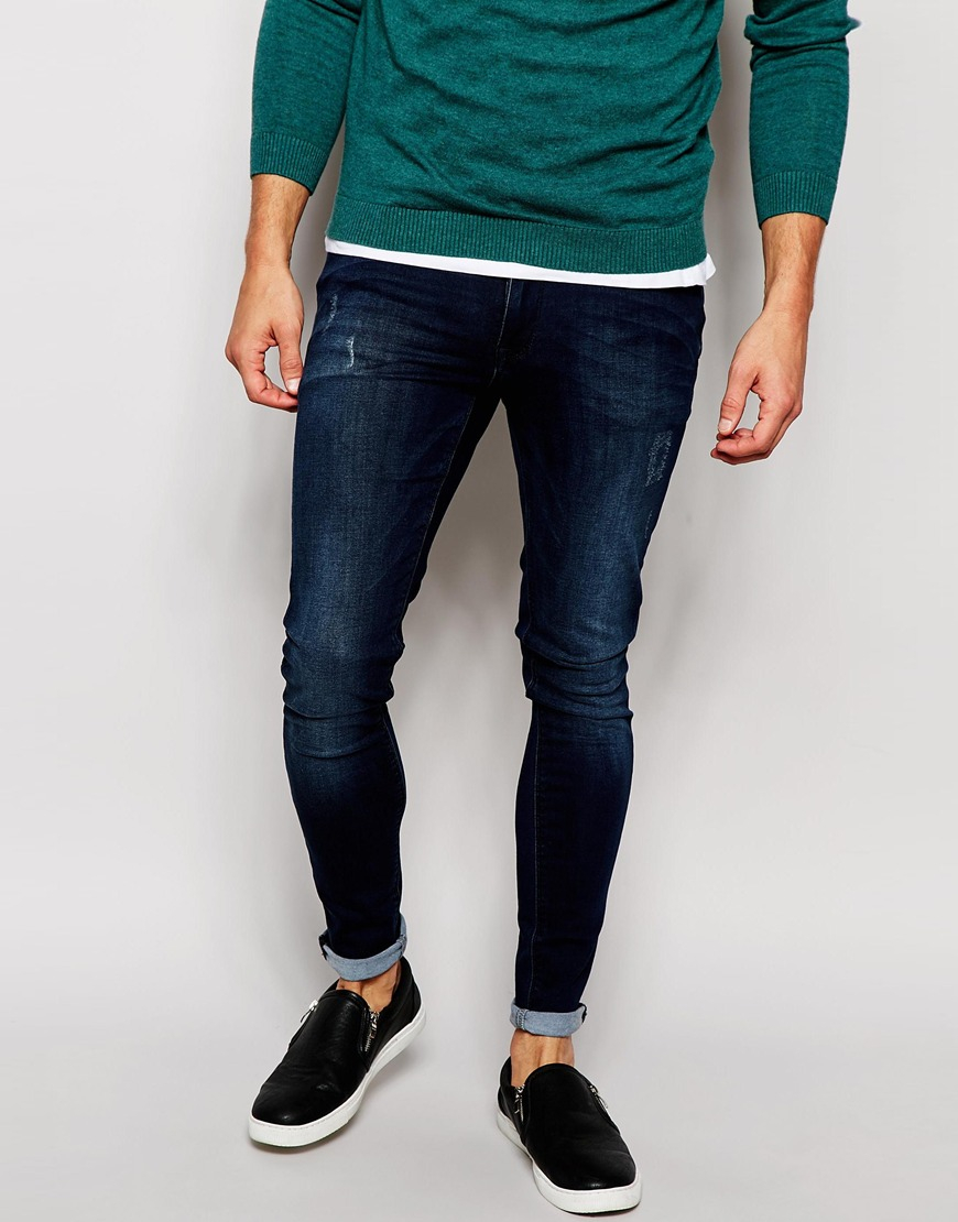 Extreme Super Skinny Jeans In Dark Blue - Dark blue Asos Cheap And Nice Cheap Sale Amazon Great Deals Sale Excellent 8RcYT