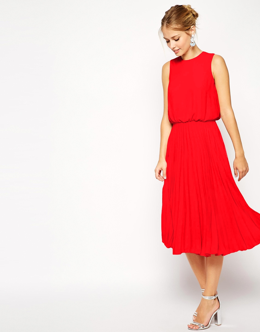f859d3dd3 ASOS Midi Skater Dress With Pleated Skirt And Blouson Top in Red - Lyst