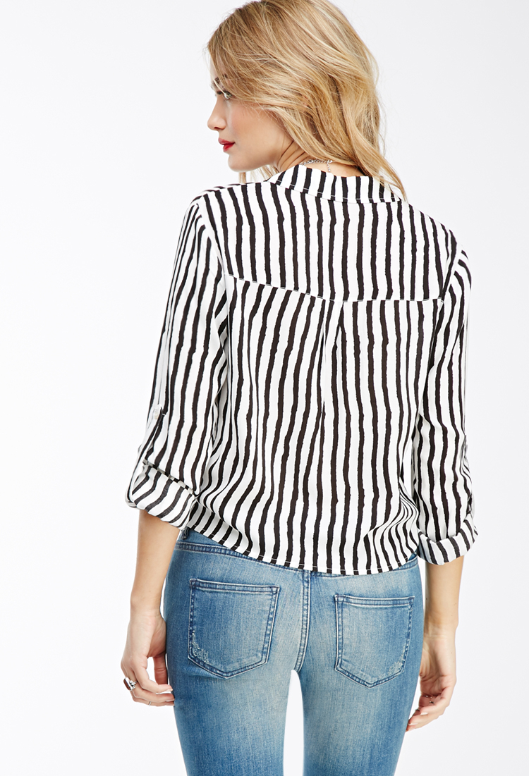Lyst forever 21 tie front striped shirt in black for Striped tie with striped shirt