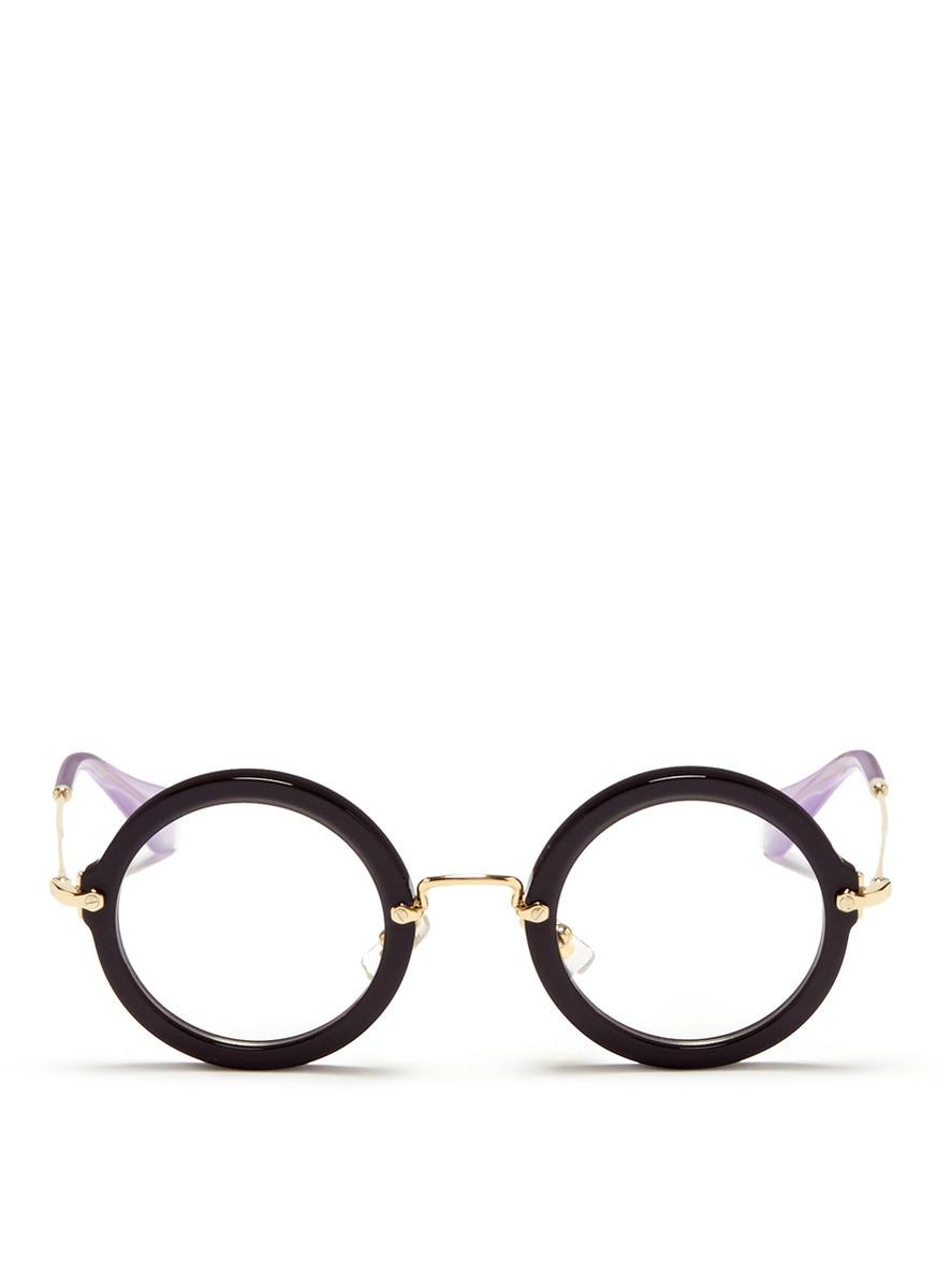 9d34da8629b6 Lyst - Miu Miu Metal Temple Round Acetate Frame Optical Glasses in Black