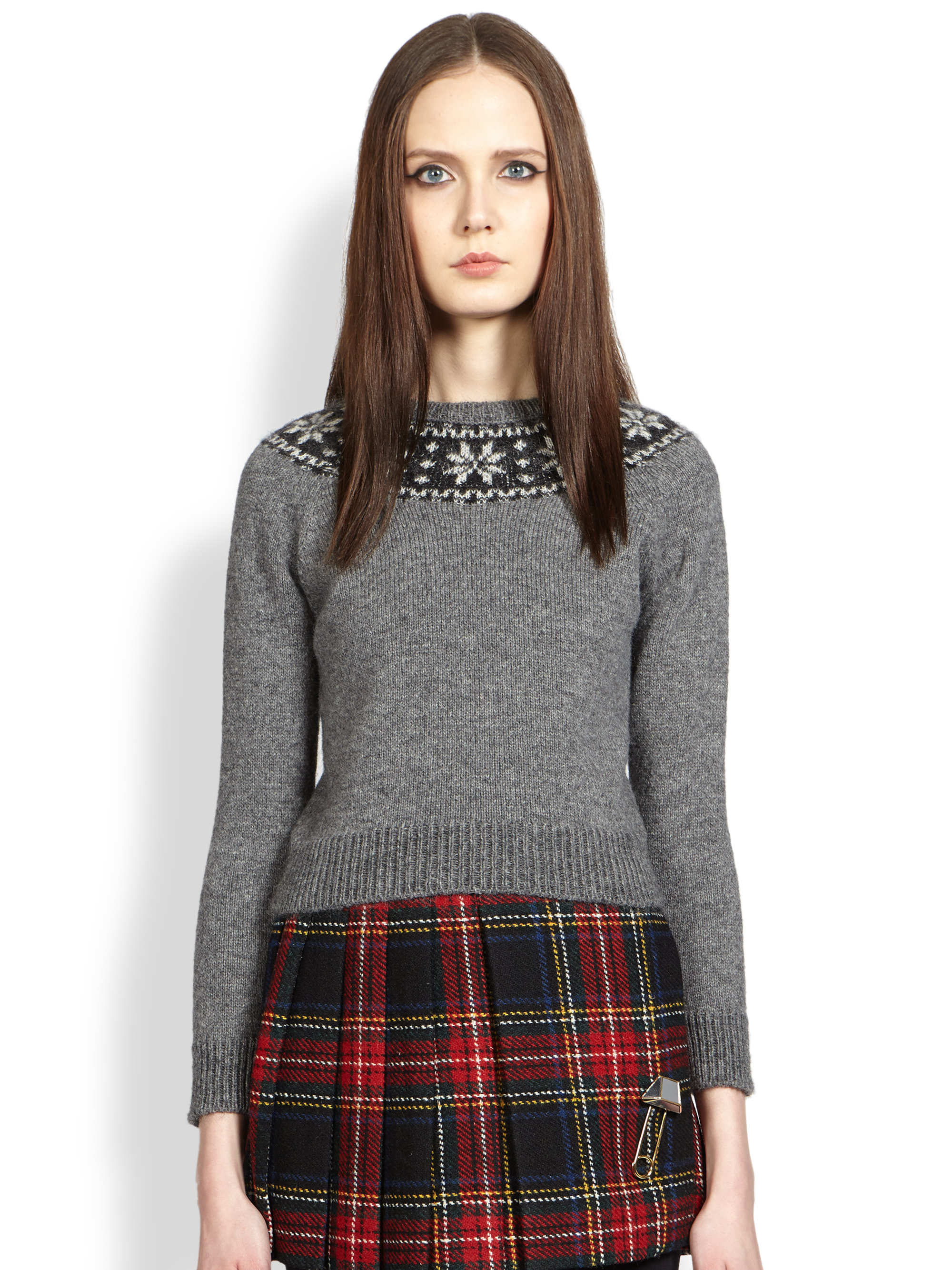 Saint laurent Intarsia-Knit Fair Isle Sweater in Red | Lyst