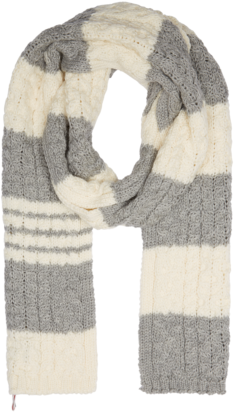Thom Browne Ivory And Grey Aran Cable Knit Stripe Scarf In Gray Lyst
