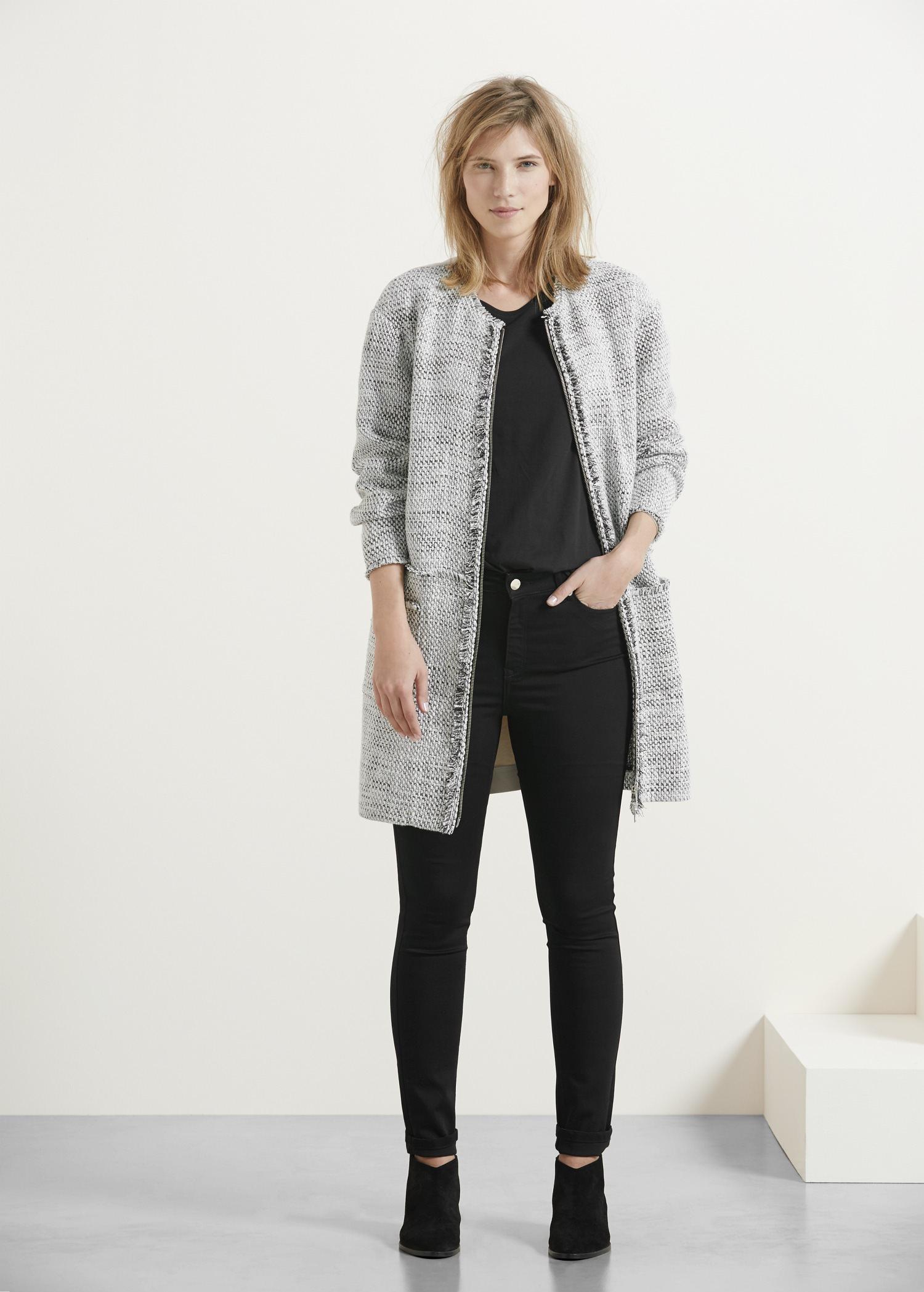 Lyst - Violeta By Mango Cotton-blend Tweed Jacket in Gray 1ad47aa6cf01