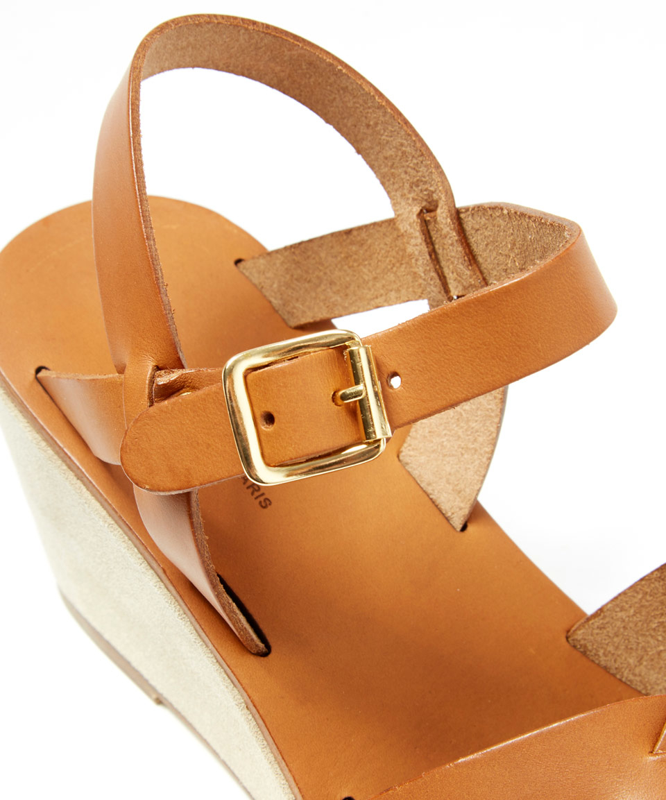 0ac9be5b0bda Lyst - A.P.C. Tan Leather Classic Wooden Wedge Sandals in Brown