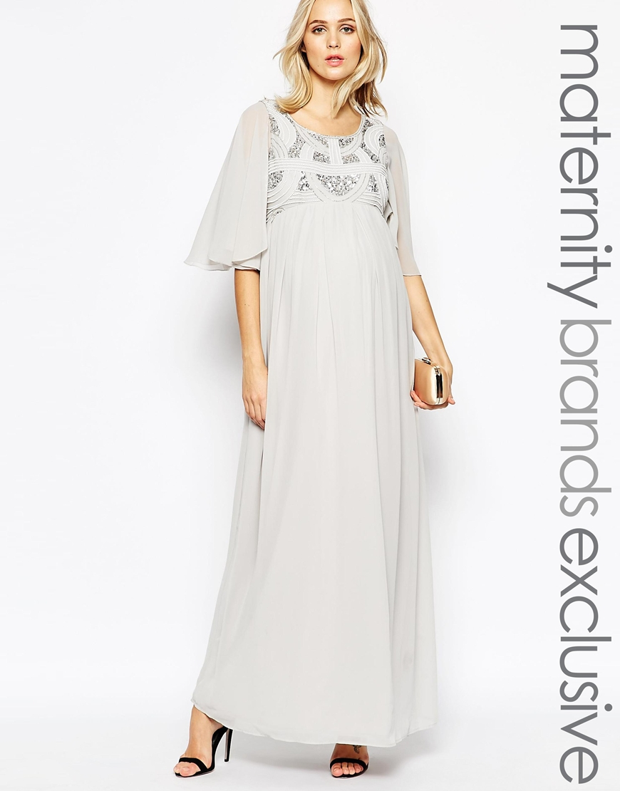 f4526e5570661 Maya Maternity Sequin Embellished Bodice Maxi Dress With Flared ...