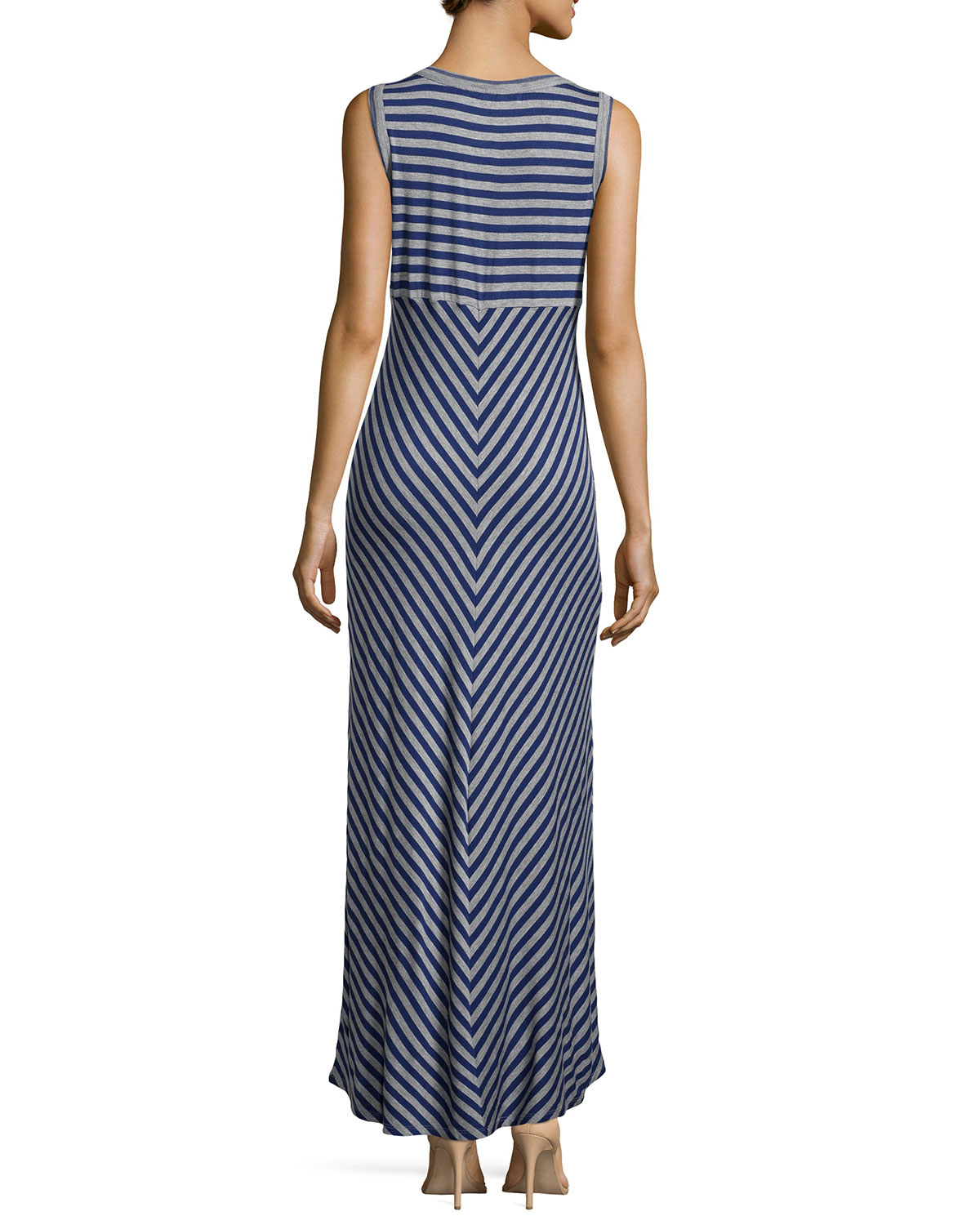 Lyst - Neiman Marcus Stretch-knit Striped Maxi Dress in Blue