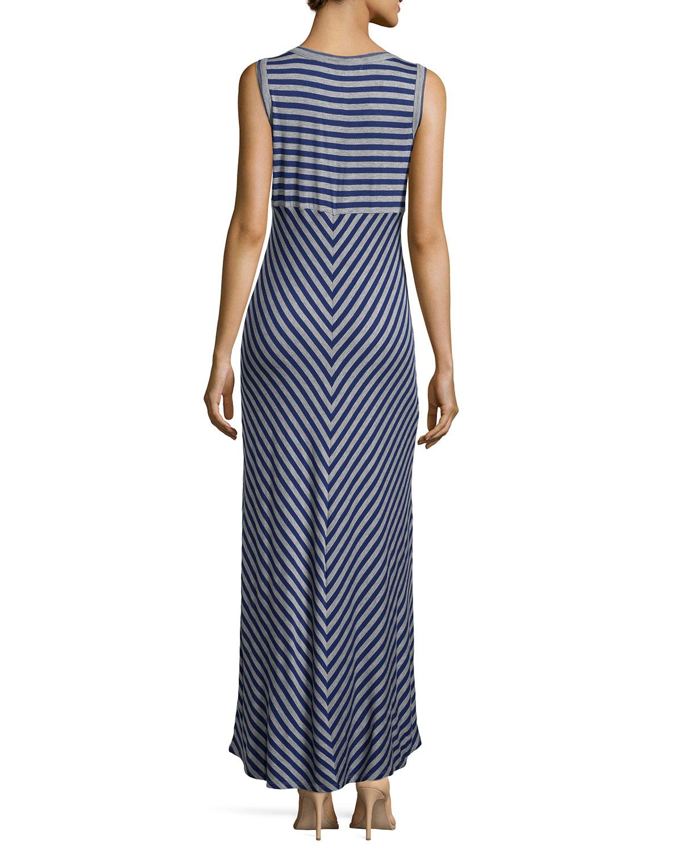 Lyst - Neiman Marcus Stretch-knit Striped Maxi Dress in Blue