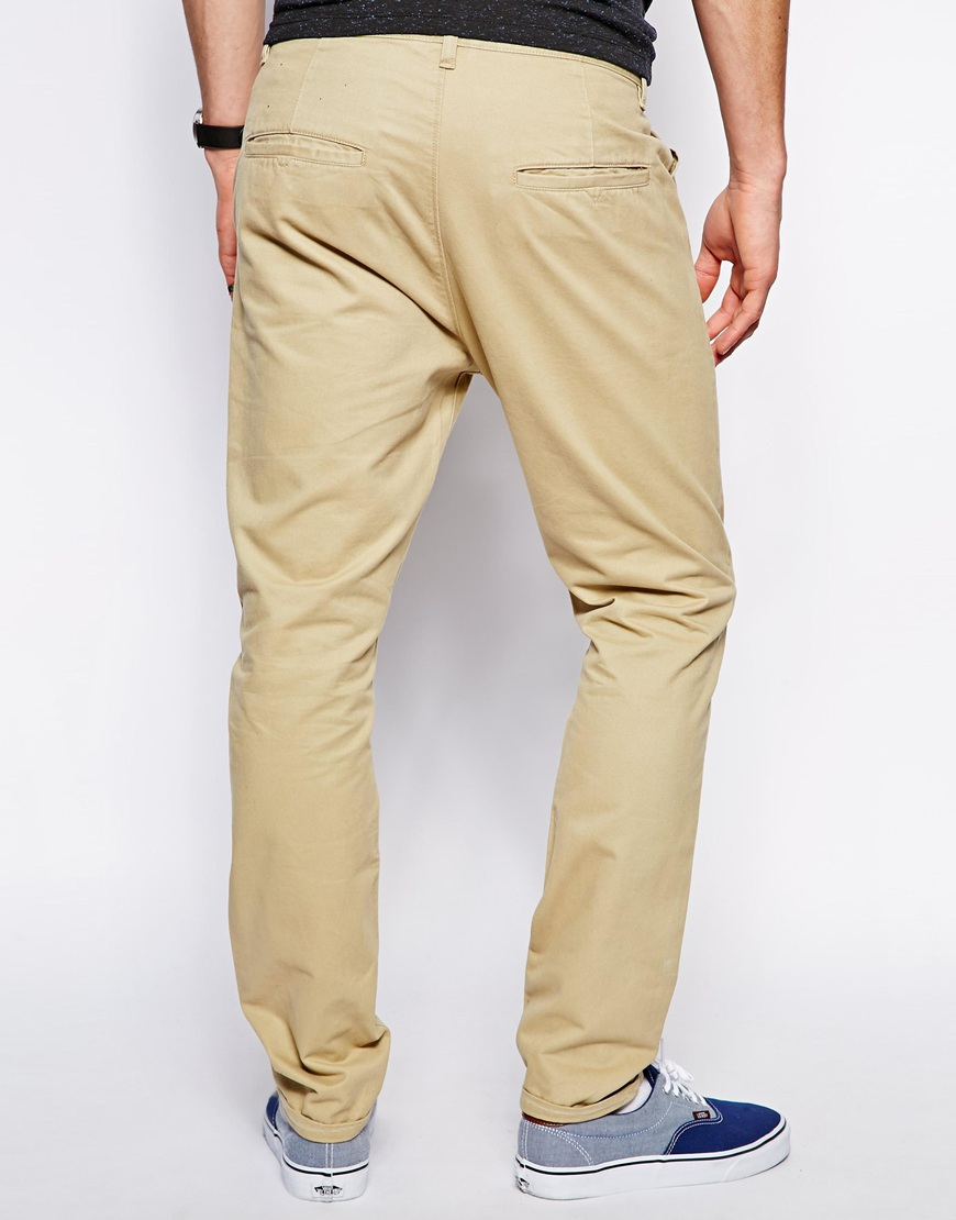 db4039f36e18f3 ASOS Tapered Chinos in Natural for Men - Lyst