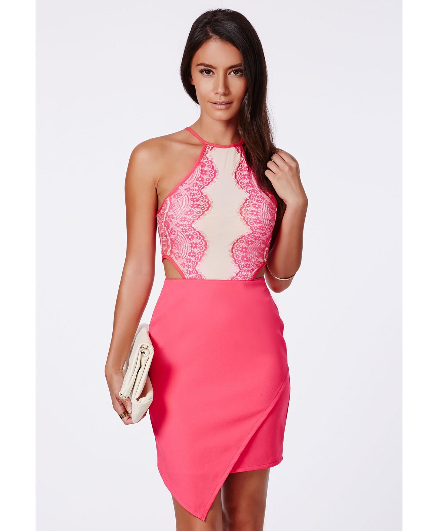 c11a101775a218 Missguided Zipita Pink Lace Top Asymmetric Mini Dress - Campaign in ...
