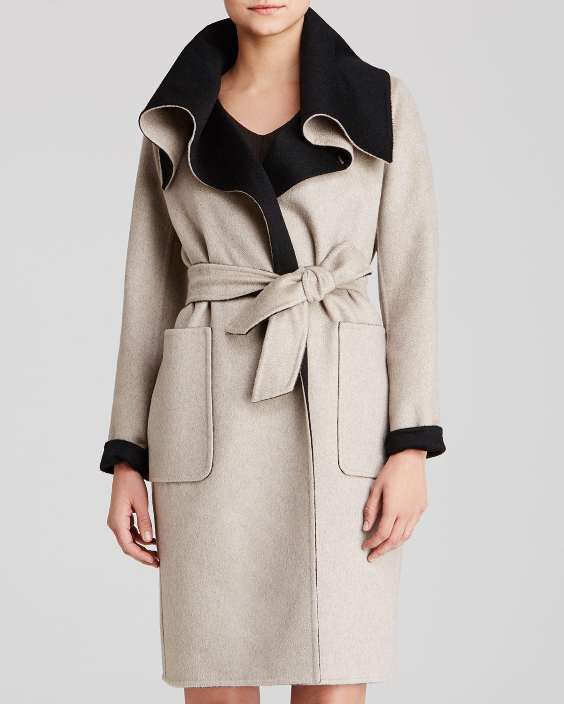 Lyst Max Mara Coat Emy Drape Collar Color Block