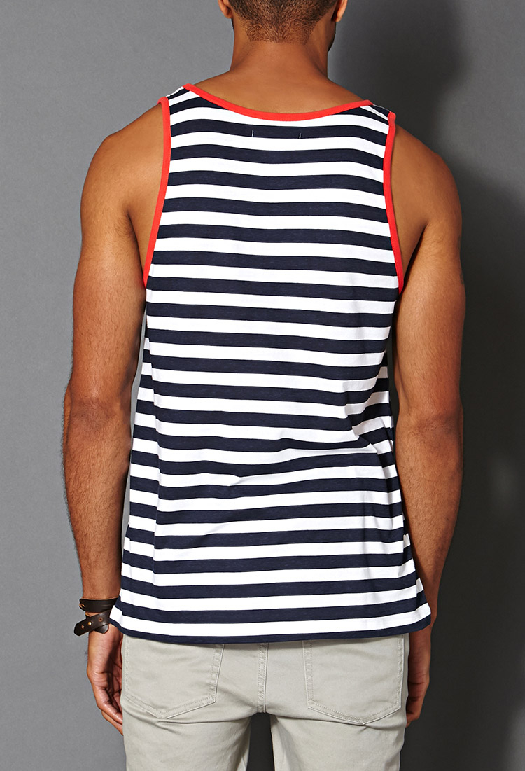 c1e2e6bb45a12 Forever 21 Striped Pocket Tank Top in Blue for Men - Lyst