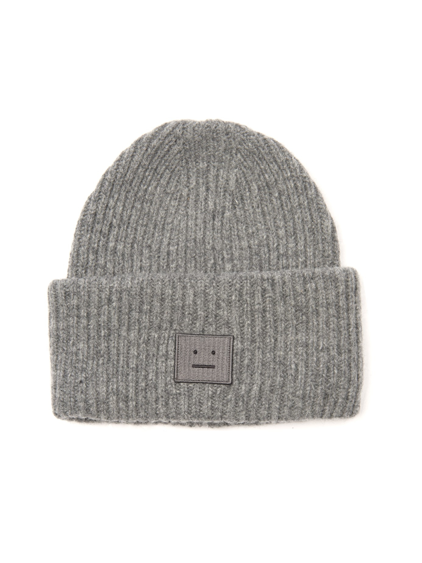 Lyst - Acne Studios Pansy Ribbed-Knit Wool Beanie in Gray b9123958f68
