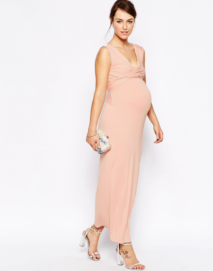 Pink Maternity Halter Maxi Dresses