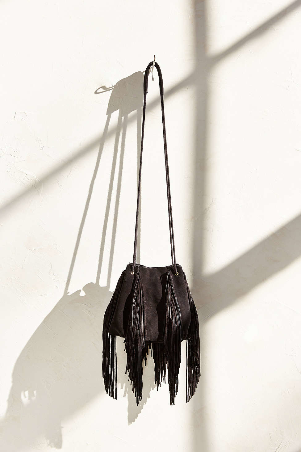 bb0ded63aff4 Lyst - Ecote Fringe Bucket Bag in Black