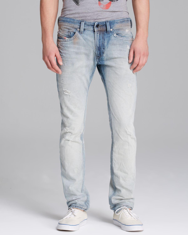 Diesel Jeans Tie Die Rip Shioner Slim Fit in Light Wash in Blue ...