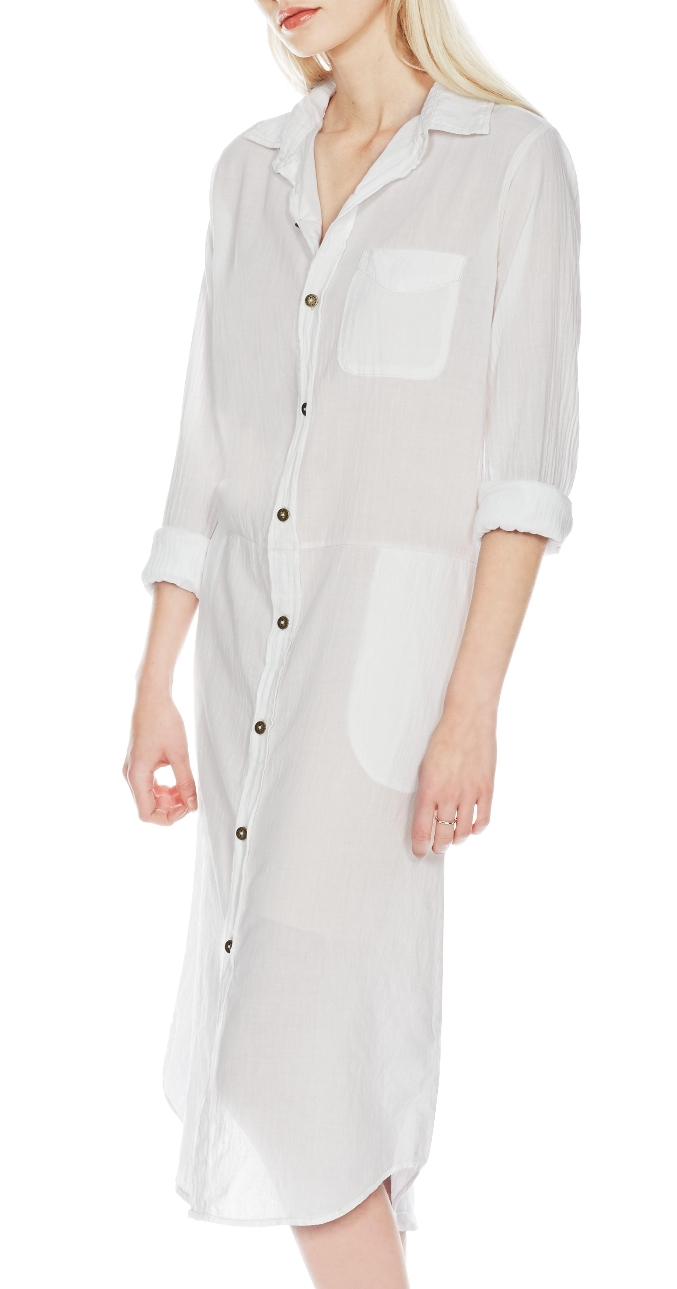 Lyst Current Elliott The Long Shirt Dress In White