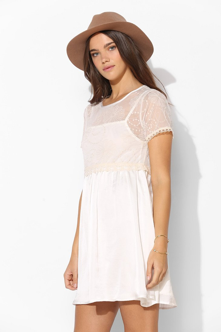 da473f1d982 Lyst - Pins And Needles Embroidered Mesh Top Babydoll Dress in Natural