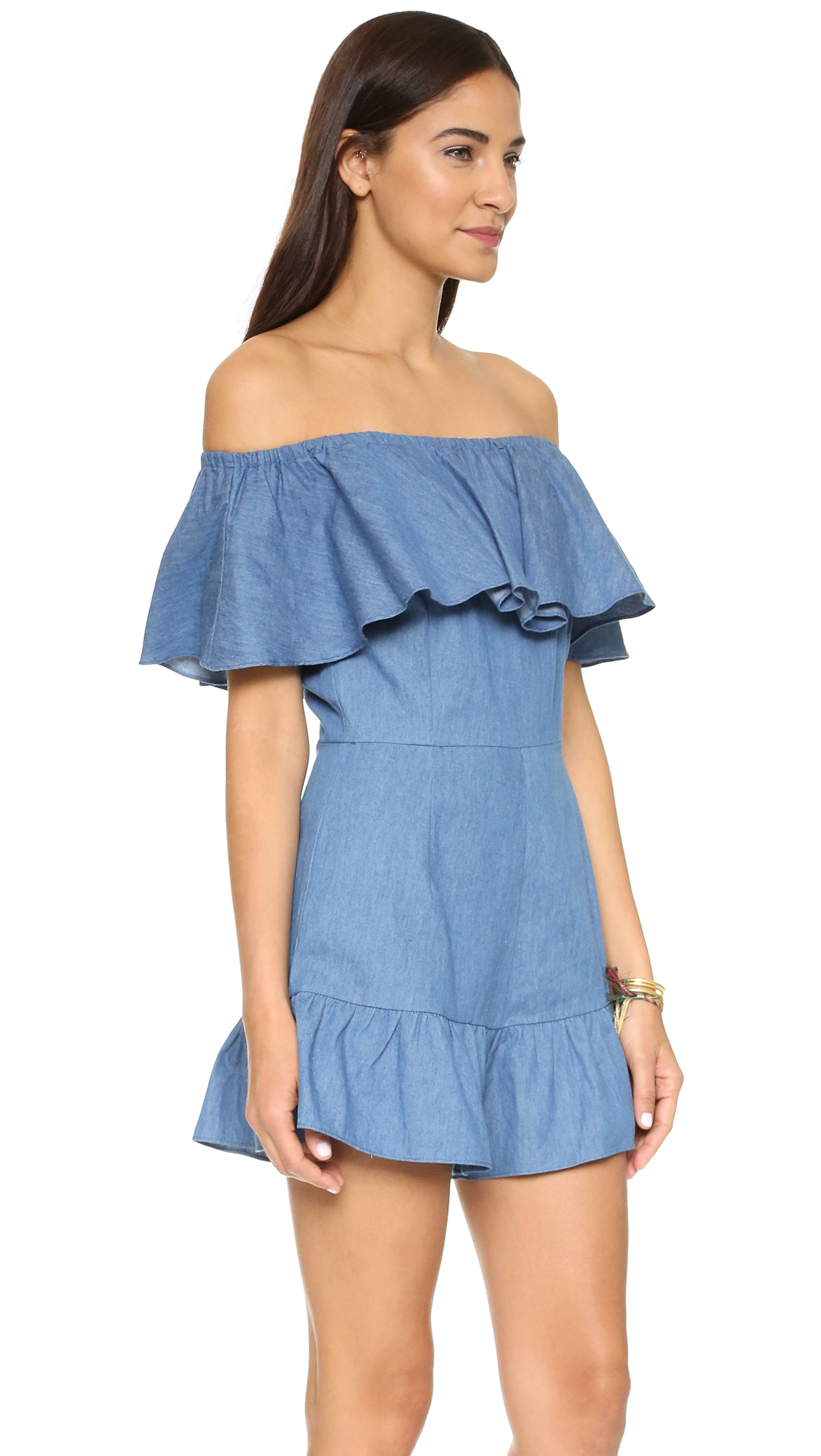 743d0b95c29d Lyst - Shakuhachi Genie Off Shoulder Romper in Blue
