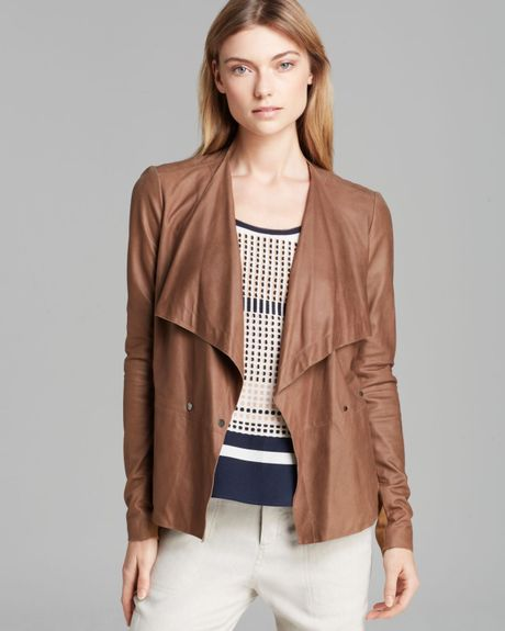 Vince Jacket Paper Leather Drape In Brown Milkyway Lyst