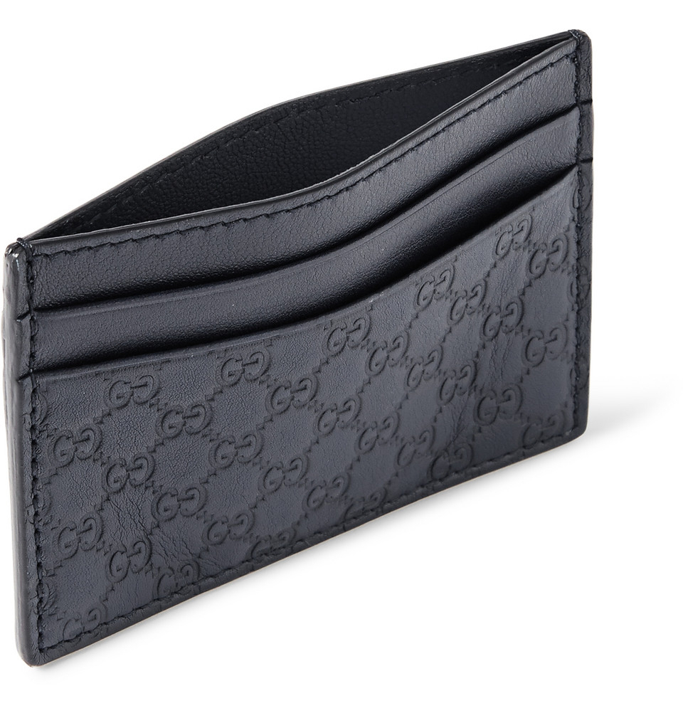 f8318a5c9a3d4f Gucci Embossed Leather Cardholder in Blue for Men - Lyst