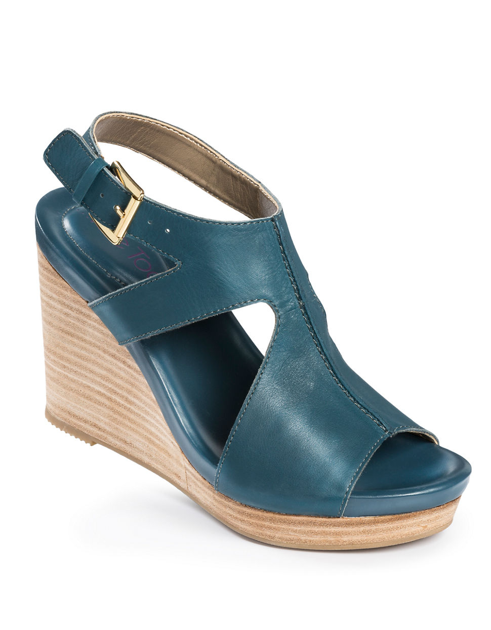 Lyst Me Too Atlantic Leather Wedges In Blue