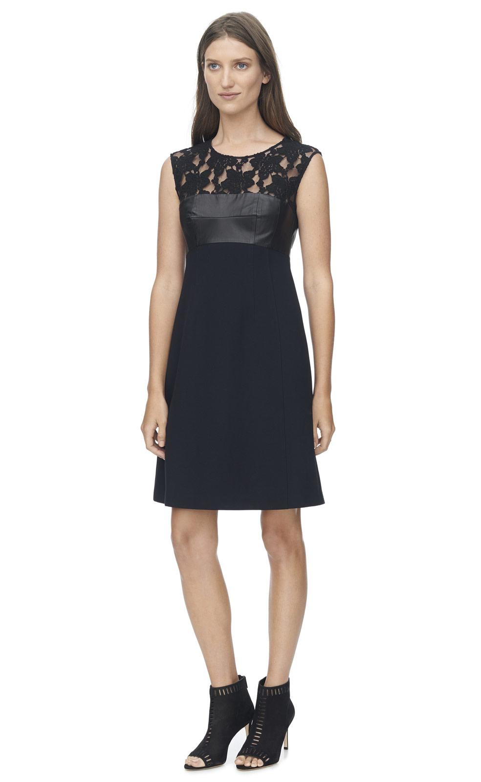 Black lace leather dress