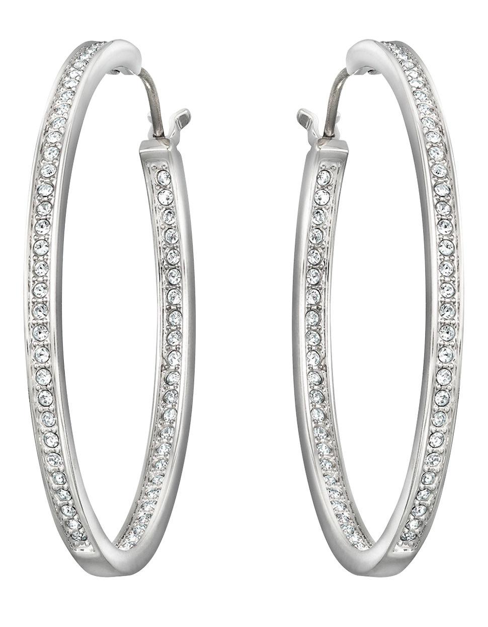 Lyst Swarovski Ready Silver Tone Oval Crystal Hoop Earrings