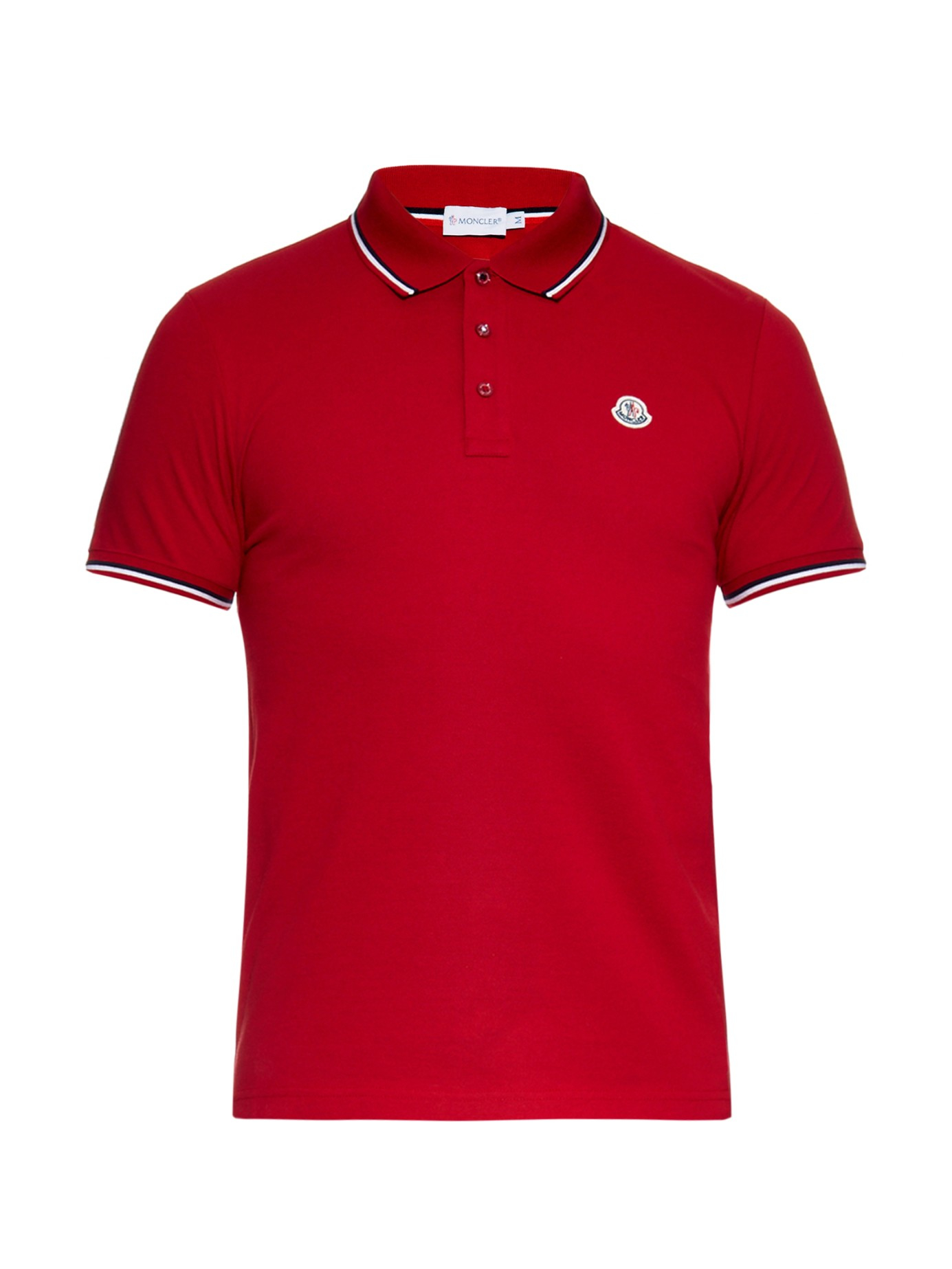 lyst moncler striped trim cotton polo shirt in red for men. Black Bedroom Furniture Sets. Home Design Ideas