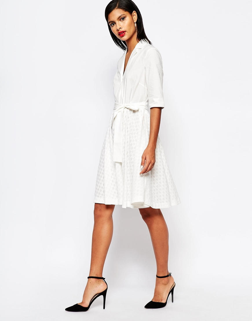 5aee5de42e9 Lyst - French Connection Geo Flora Shirt Dress In Broderie - Summer ...