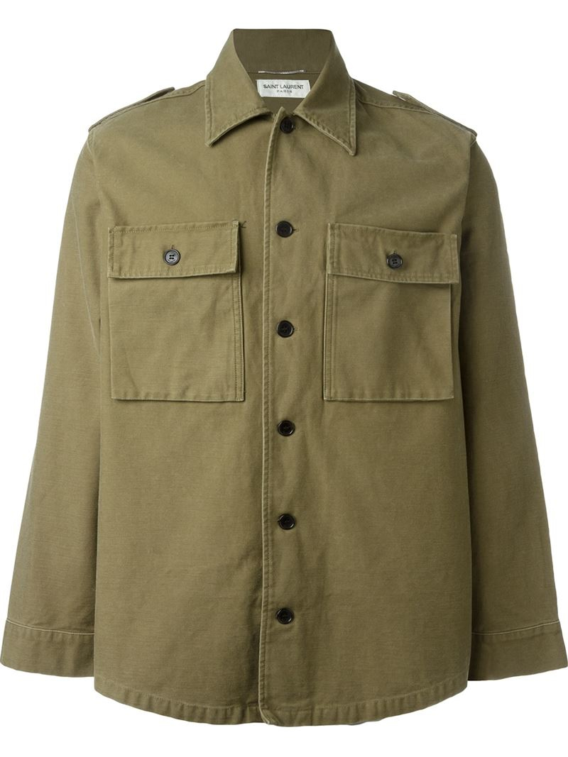 Saint laurent Military Shirt Jacket in Natural for Men | Lyst