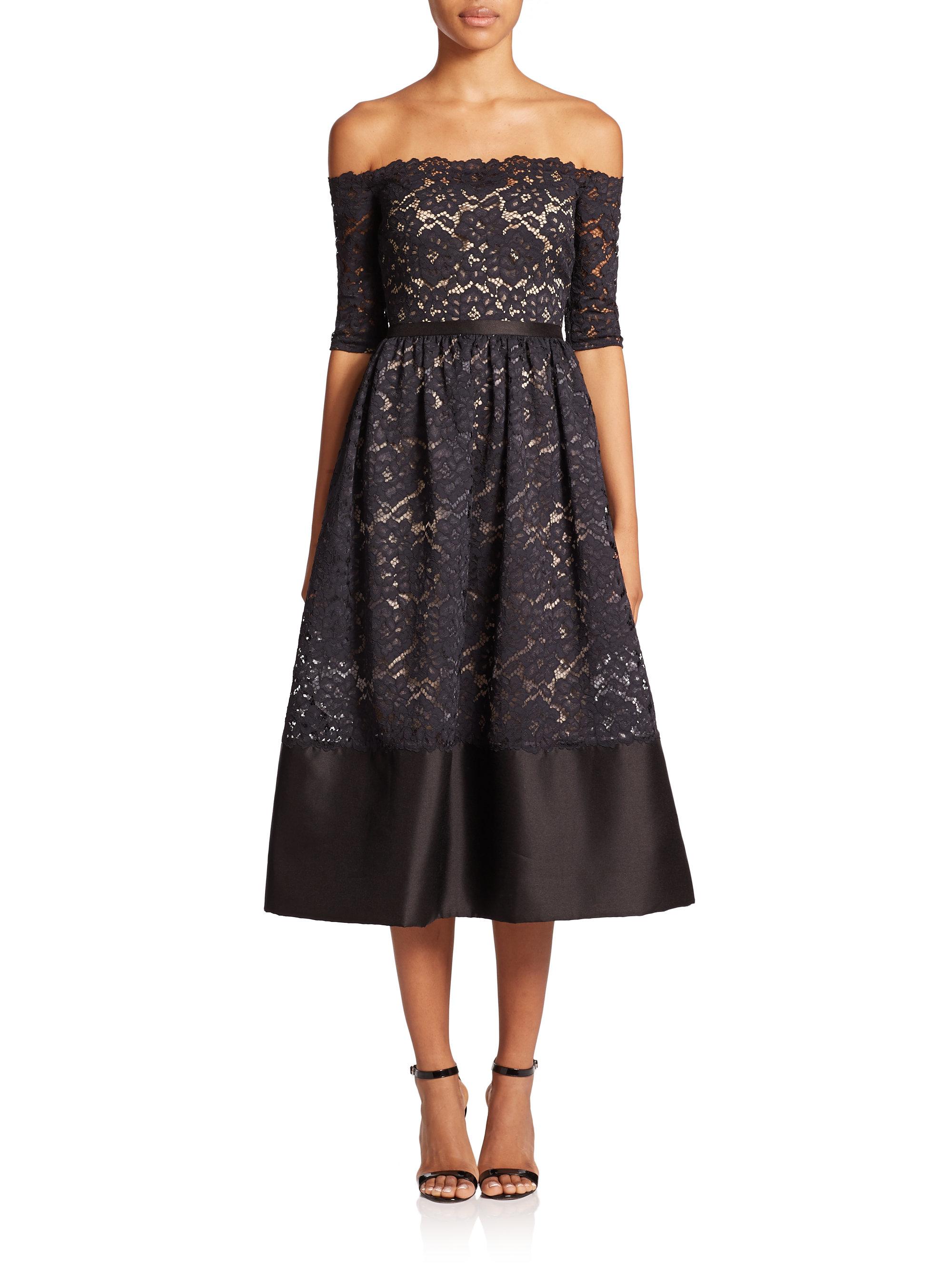 0b82316bda ML Monique Lhuillier Off-the-shoulder Lace Midi Dress in Black - Lyst