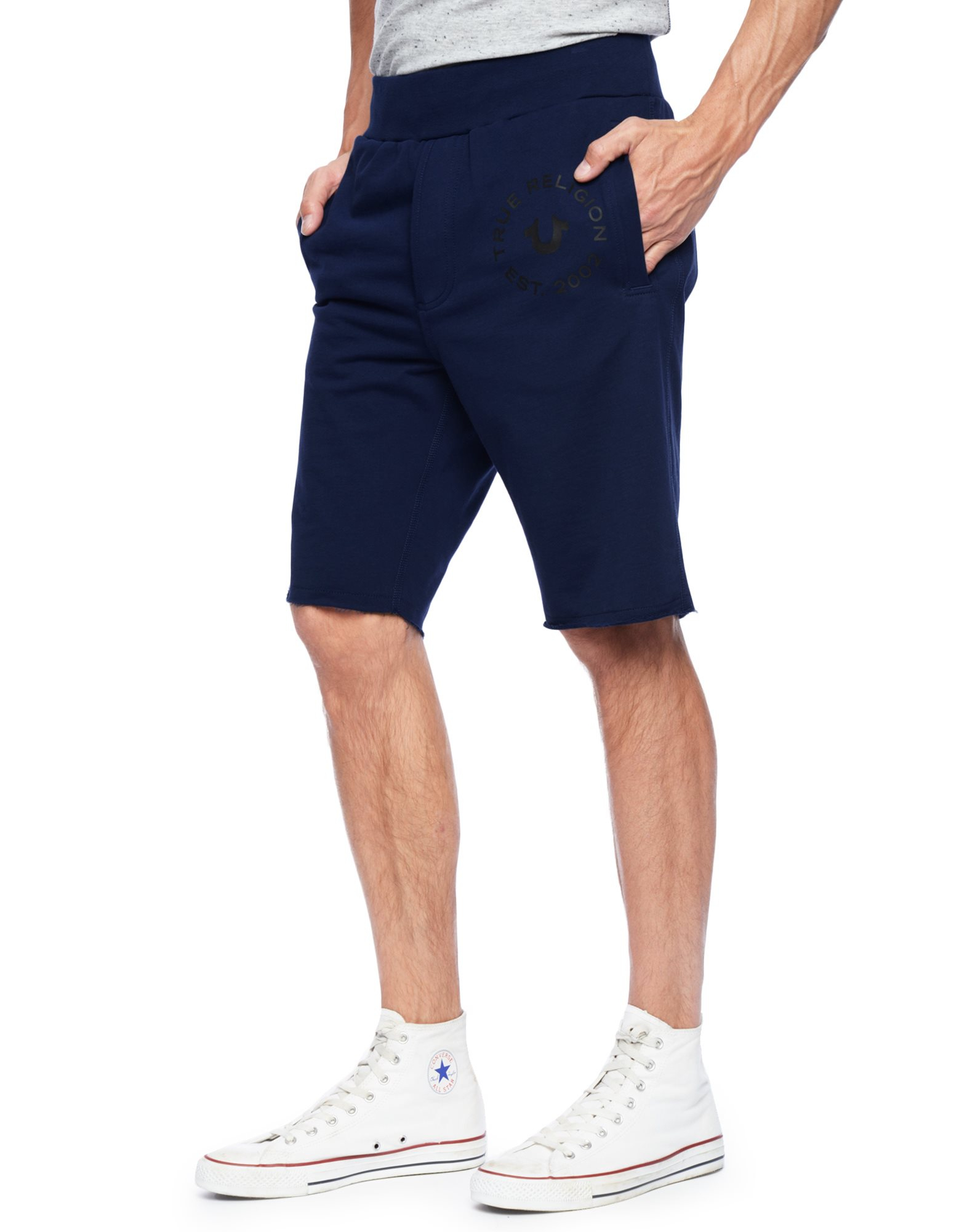 True religion Cut Off Mens Sweat Shorts in Blue for Men | Lyst