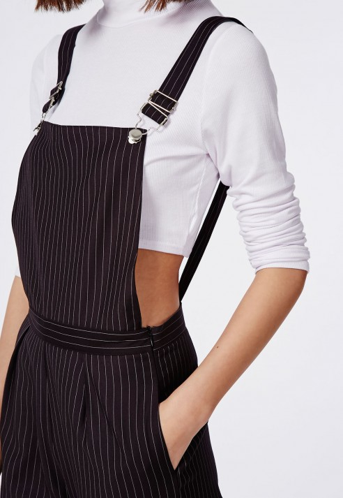 c0ecd08f61c9 Lyst - Missguided Tailored Pinstripe Dungarees Black in Black