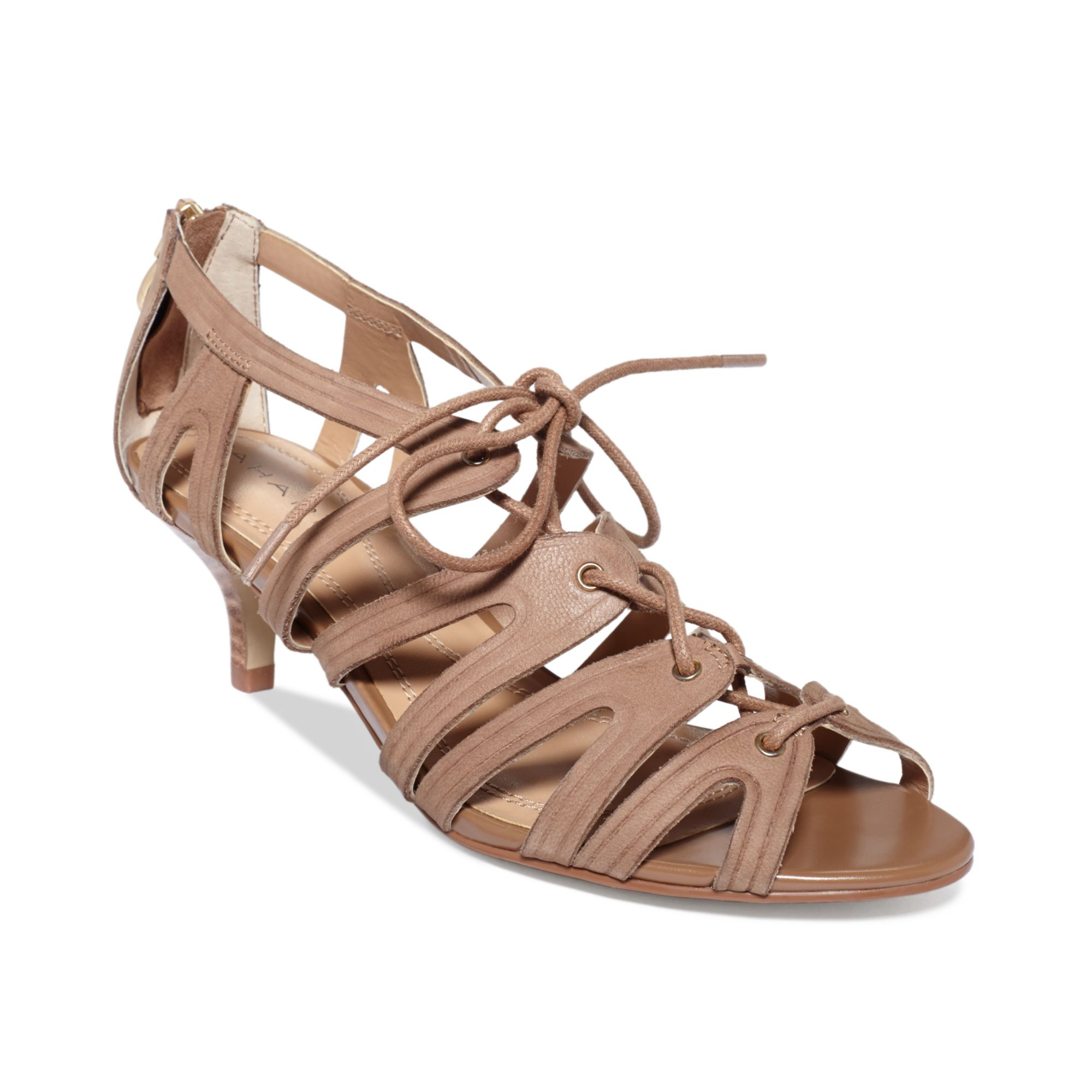 Tahari Womens Darra Kitten Heel Sandals in Natural | Lyst