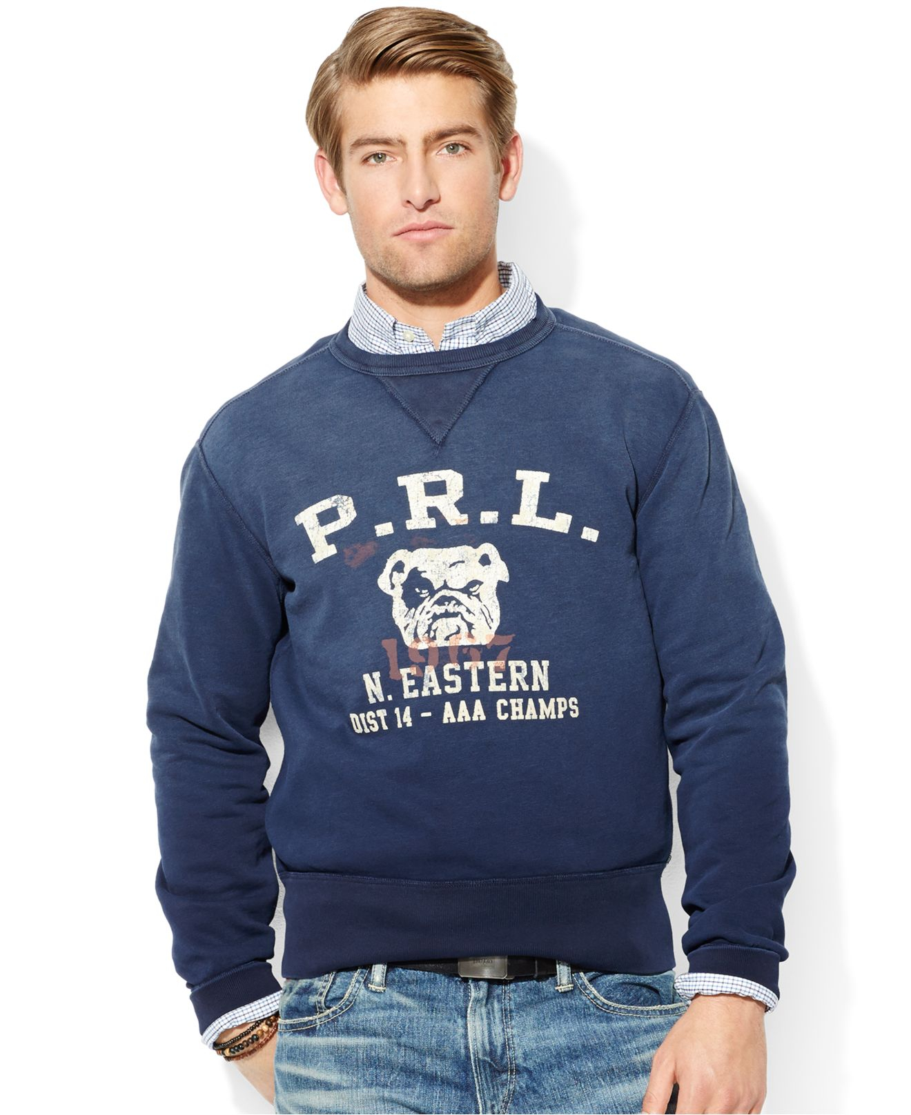 polo ralph lauren fleece bulldog sweatshirt in blue for men lyst. Black Bedroom Furniture Sets. Home Design Ideas