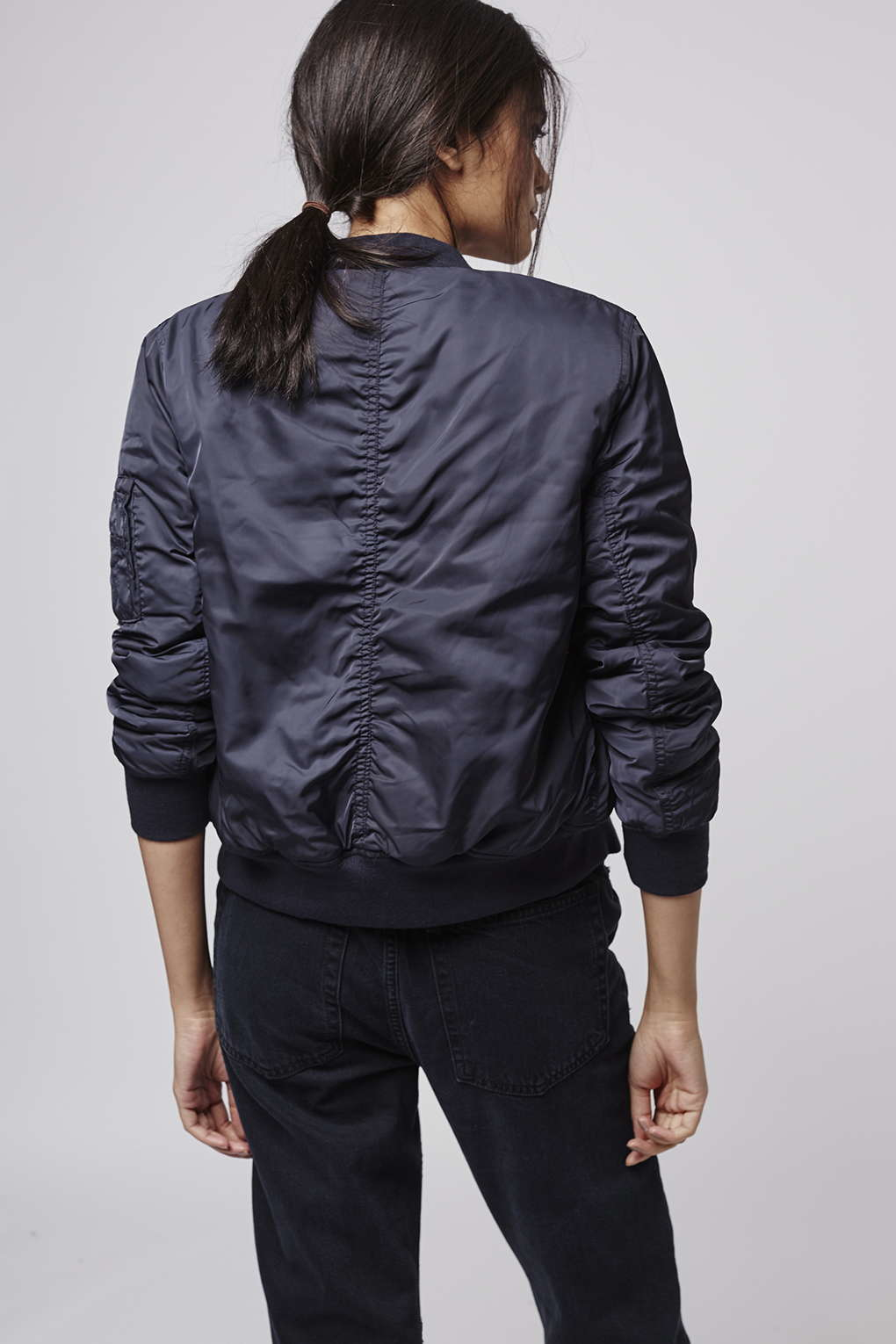 Topshop Petite Faux Fur Lined Bomber Jacket in Blue | Lyst
