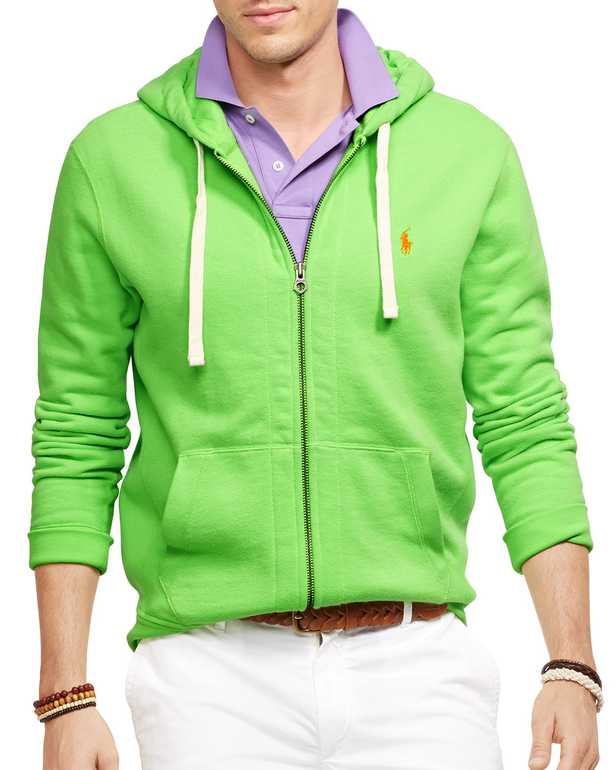 ralph lauren polo full zip classic fleece hoodie in green. Black Bedroom Furniture Sets. Home Design Ideas