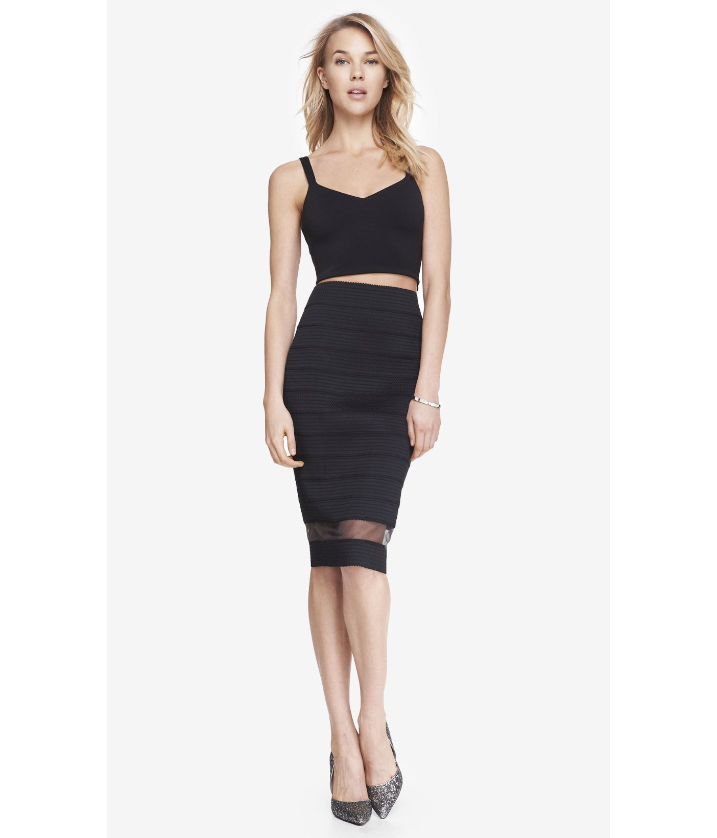 express black elastic stripe high waist sheer inset midi