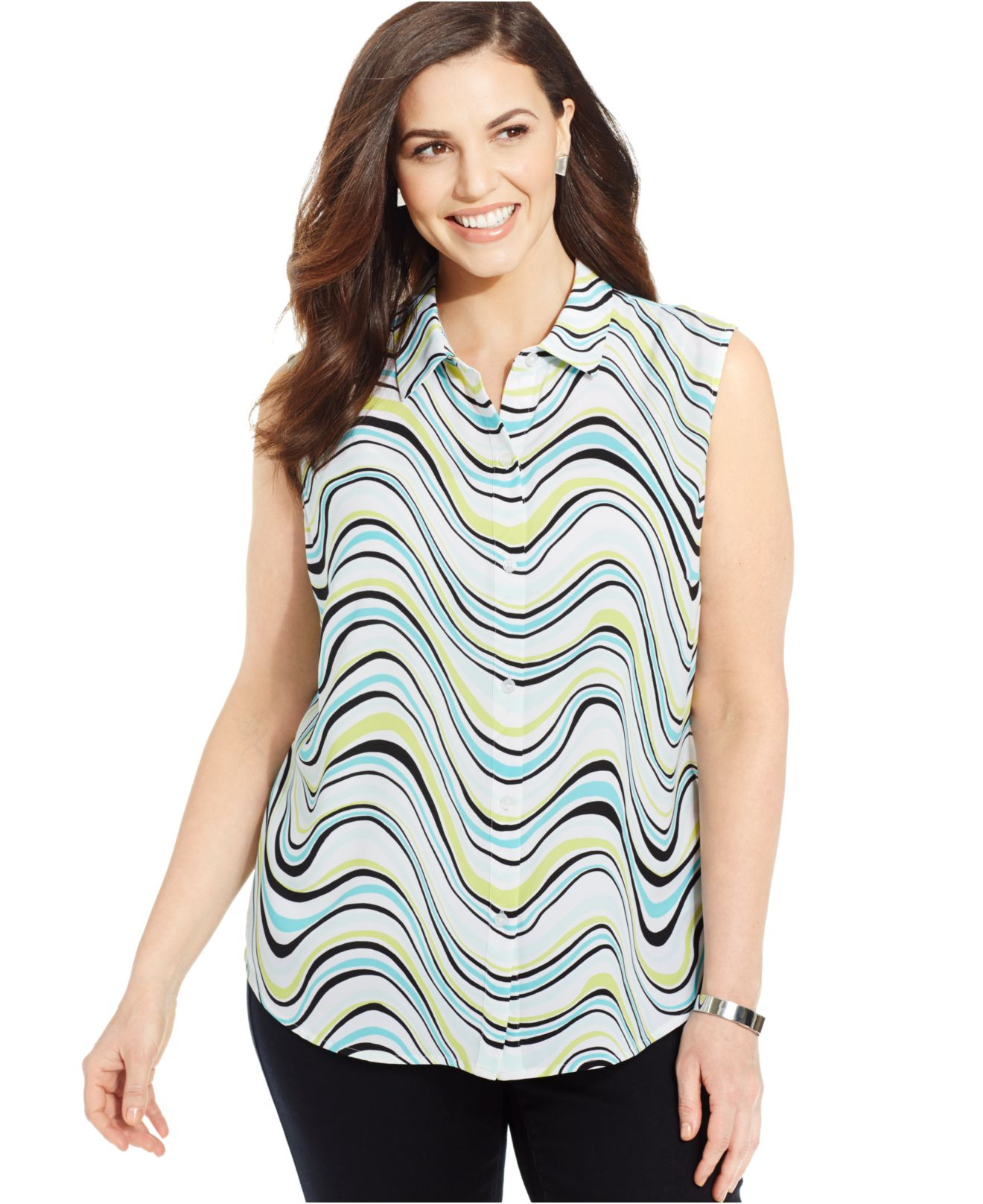 3d0ce6b06f0fa2 Lyst - Jones New York Signature Plus Size Sleeveless Printed Shirt