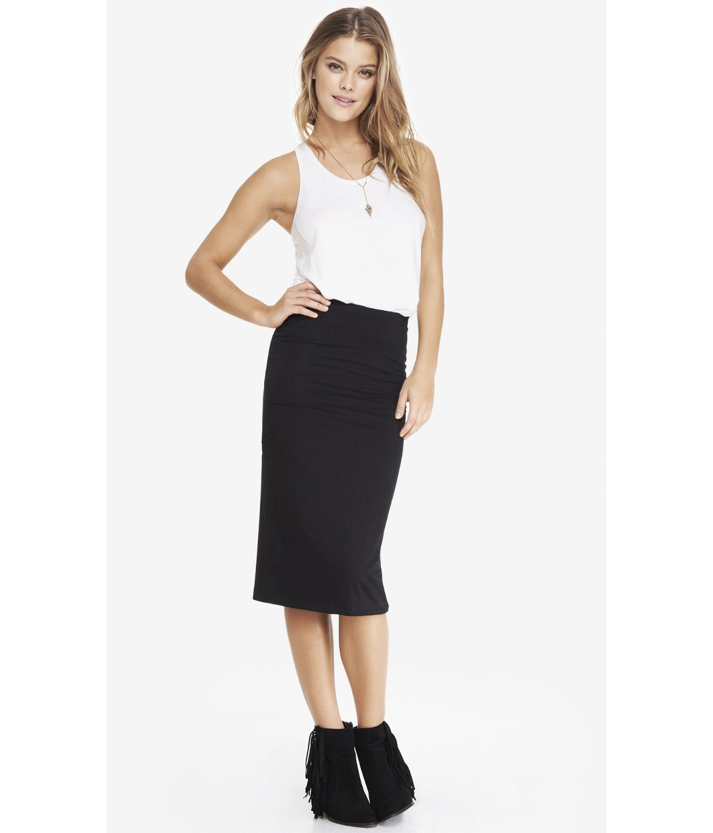 Express Stretch Knit Midi Pencil Skirt in Black | Lyst