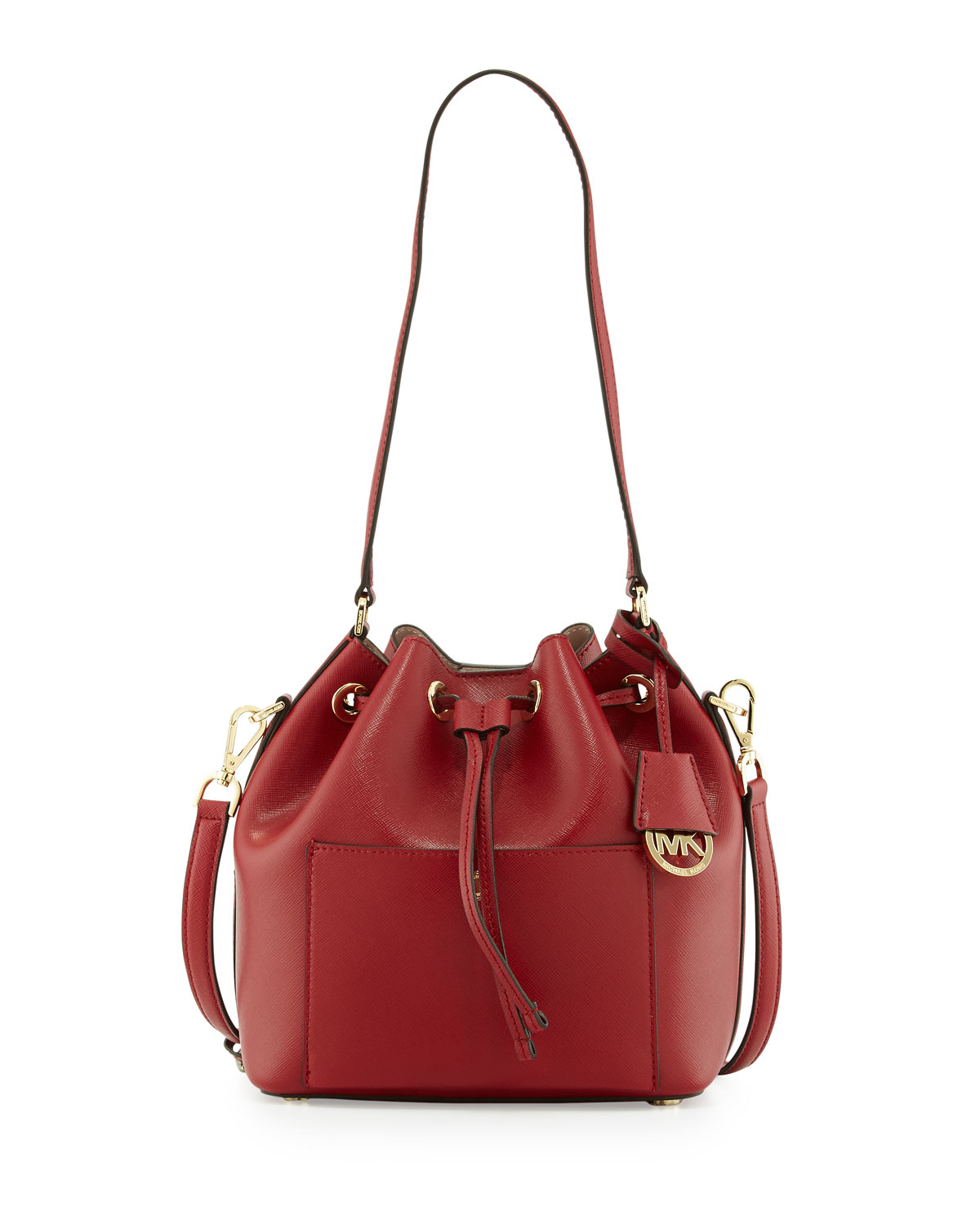 michael michael kors greenwich medium bucket bag in red lyst. Black Bedroom Furniture Sets. Home Design Ideas